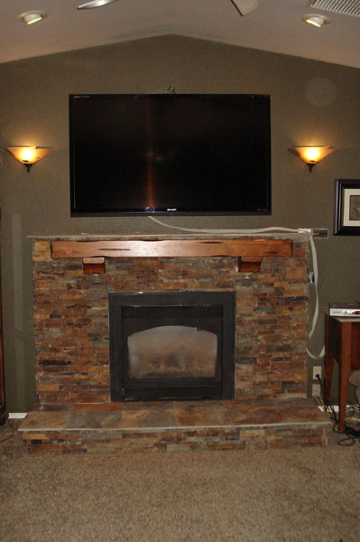 Residential Rock Wall Fireplace Remodel